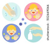 hand washing with water and... | Shutterstock .eps vector #502669066