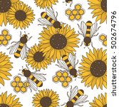 collection of bees  flowers and ... | Shutterstock .eps vector #502674796
