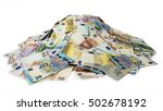 euro money banknotes, pile of money, cash, stack, new bills, isolated - stock photo