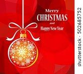 christmas ball on red... | Shutterstock .eps vector #502685752