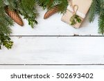 christmas fir tree with... | Shutterstock . vector #502693402