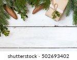 christmas fir tree with... | Shutterstock . vector #502693402