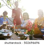 group of people dining concept | Shutterstock . vector #502696696