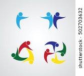 set of teamwork meeting ....   Shutterstock .eps vector #502703632