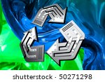 Artistic recycling symbol over abstract green blue background Conceptual 3D illustration - stock photo
