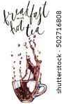 cup of tea. watercolor hand...   Shutterstock . vector #502716808