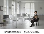 elegant businessman read old... | Shutterstock . vector #502729282