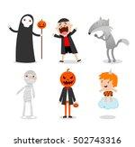 people wearing halloween... | Shutterstock .eps vector #502743316