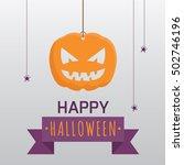 happy halloween pumpkin with... | Shutterstock .eps vector #502746196