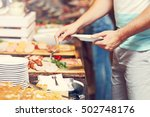 midsection of man at breakfast... | Shutterstock . vector #502748176