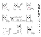 funny hand drawn cats. animals... | Shutterstock .eps vector #502755208