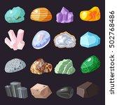 collection set of semi precious ... | Shutterstock .eps vector #502768486