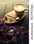 latte hot in cup white on the... | Shutterstock . vector #502791562