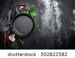 cast iron pan and spices on... | Shutterstock . vector #502822582