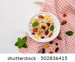 bowl of mix dried fruits muesli ... | Shutterstock . vector #502836415