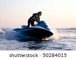 beautiful girl riding her jet... | Shutterstock . vector #50284015
