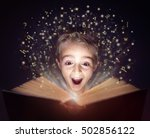 child reading a magical story... | Shutterstock . vector #502856122