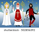 saint nicolas with angel and... | Shutterstock .eps vector #502856392
