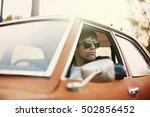 handsome male model posing in... | Shutterstock . vector #502856452