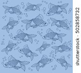 blue vector fish background | Shutterstock .eps vector #502858732