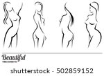 set stylized beautiful women... | Shutterstock . vector #502859152