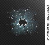 broken transparent glass.... | Shutterstock .eps vector #502868326