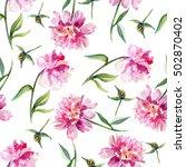 watercolor pink peony  garden... | Shutterstock . vector #502870402