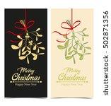 christmas mistletoe hanging ... | Shutterstock .eps vector #502871356