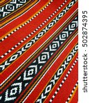 a red theme arabian sadu rug... | Shutterstock . vector #502874395