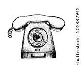 retro telephone ink vector... | Shutterstock .eps vector #502882942