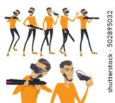 set the virtual reality player...   Shutterstock .eps vector #502895032