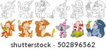 cartoon animals set. new year... | Shutterstock .eps vector #502896562