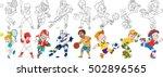 cartoon sportive children set.... | Shutterstock .eps vector #502896565