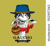 gaucho giraffe portrait in a... | Shutterstock .eps vector #502907362