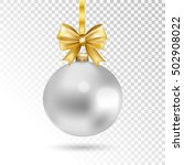 silver christmas ball with gold ... | Shutterstock .eps vector #502908022