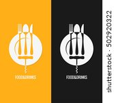 food and drink logo. plate fork ... | Shutterstock .eps vector #502920322