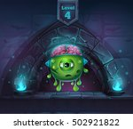 cartoon monster with brains in... | Shutterstock .eps vector #502921822