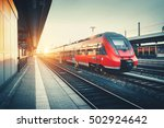 beautiful railway station with... | Shutterstock . vector #502924642