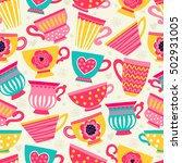 seamless pattern with a teacup. ... | Shutterstock .eps vector #502931005
