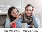 cheerful optimistic couple... | Shutterstock . vector #502937386