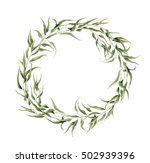 watercolor floral wreath with... | Shutterstock . vector #502939396