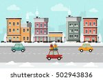 winter urban landscape with... | Shutterstock .eps vector #502943836