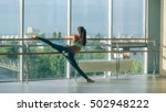 woman stretching her leg at the ... | Shutterstock . vector #502948222