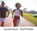 multiethnic group of young... | Shutterstock . vector #502950286