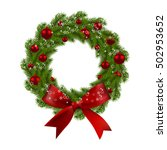 christmas wreath. green fir... | Shutterstock .eps vector #502953652