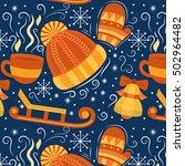 winter vector seamless pattern... | Shutterstock .eps vector #502964482
