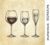 set of wineglasses. hand drawn... | Shutterstock .eps vector #502965196