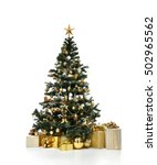 Stock photo decorated gold christmas tree with golder patchwork ornament artificial star hearts presents for 502965562