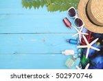 beach accessories on wooden... | Shutterstock . vector #502970746
