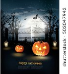 halloween spooky background.... | Shutterstock .eps vector #503047942